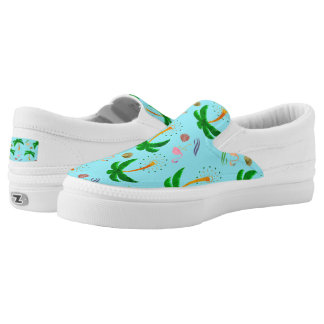 Palm Trees and Flamingoes Slip Ons