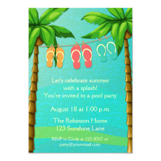 Palm Trees and Flip Flops, Summer Party 5x7 Paper Invitation Card