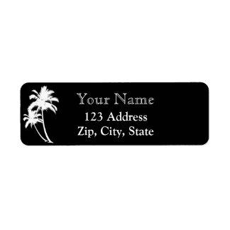 Palm trees and name return address black white