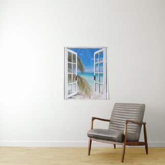 Palm Trees and Ocean Beach Wall Hanging Tapestry