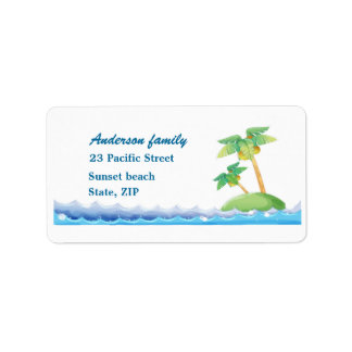 Palm trees and ocean waves Avery Label Address Label