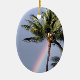 Palm Trees and Rainbow Christmas Ornament