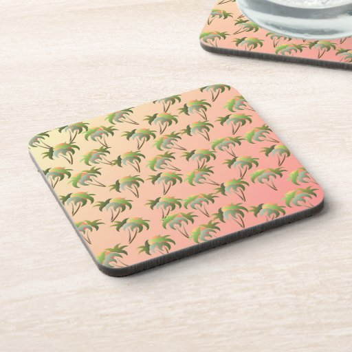 Palm Trees and Sunset Pattern Drink Coasters