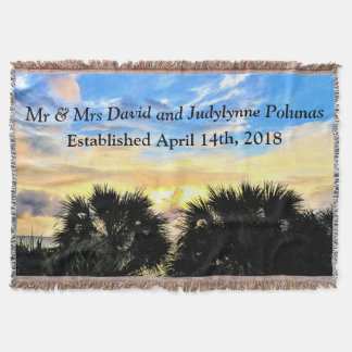 PALM TREES AND SUNSET PERSONALIZED WEDDING BLANKET