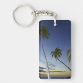 Palm trees and sunset, Plantation Island Resort Double-Sided Rectangular Acrylic Key Ring