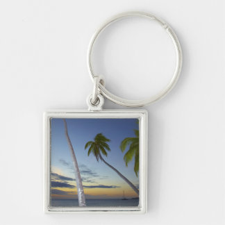 Palm trees and sunset, Plantation Island Resort Silver-Colored Square Key Ring