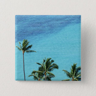 Palm trees and surface of the sea 15 cm square badge
