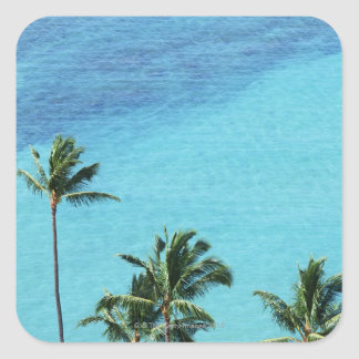 Palm trees and surface of the sea square sticker