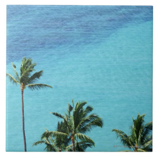 Palm trees and surface of the sea tile