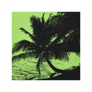 Palm trees and water - Green Canvas Print