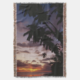 Palm Trees at sea Throw Blanket