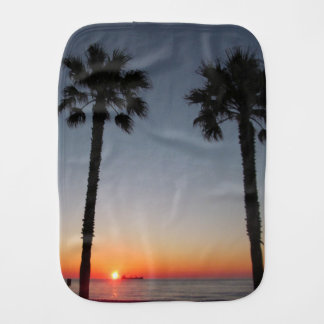Palm trees at sunset burp cloth