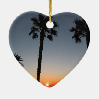 Palm trees at sunset ceramic heart decoration