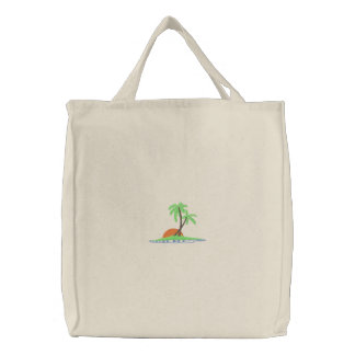 Palm Trees At Sunset Embroidered Bag