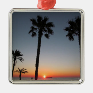 Palm trees at sunset Silver-Colored square decoration