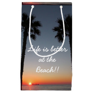 Palm trees at sunset small gift bag