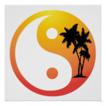 Palm Trees at Sunset Yin Yang Poster Print