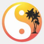 Palm Trees at Sunset Yin Yang Sticker