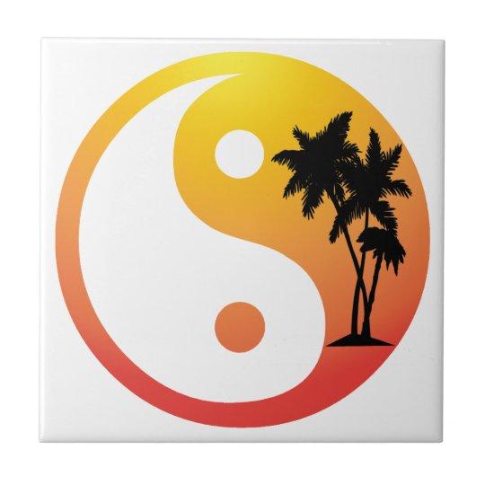 Palm Trees at Sunset Yin Yang Tile