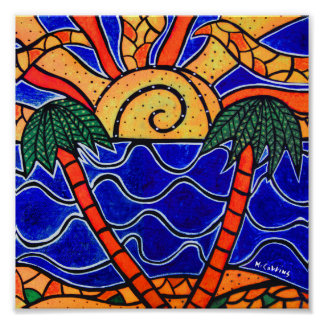 Palm Trees Beach Sunset Poster
