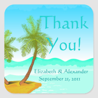 Palm Tree's Beach -Thank You-Personalize It! Square Sticker