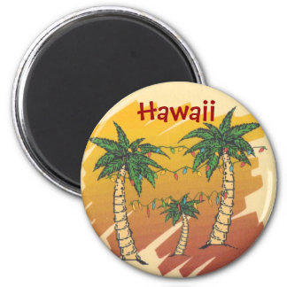 Palm Trees Decorated for a Tropical Christmas 6 Cm Round Magnet