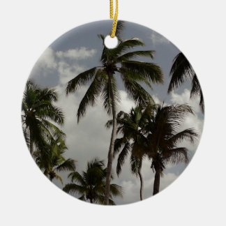 Palm Trees Dominican Round Ceramic Decoration