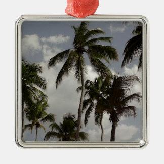 Palm Trees Dominican Silver-Colored Square Decoration