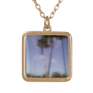 Palm trees gold square charm necklace