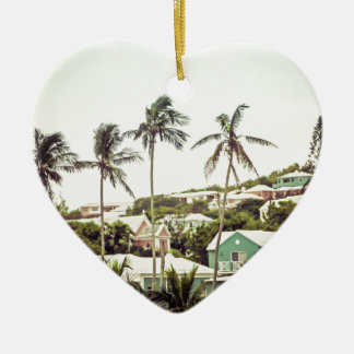 Palm Trees in Bermuda Ceramic Heart Decoration