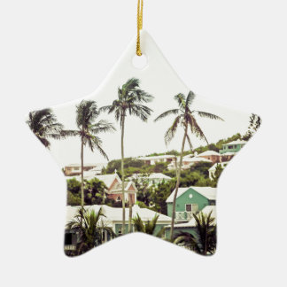 Palm Trees in Bermuda Ceramic Star Decoration