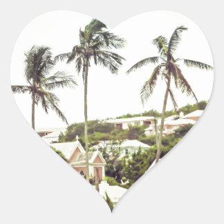 Palm Trees in Bermuda Heart Sticker