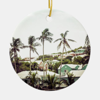 Palm Trees in Bermuda Round Ceramic Decoration