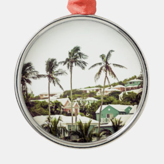 Palm Trees in Bermuda Silver-Colored Round Decoration
