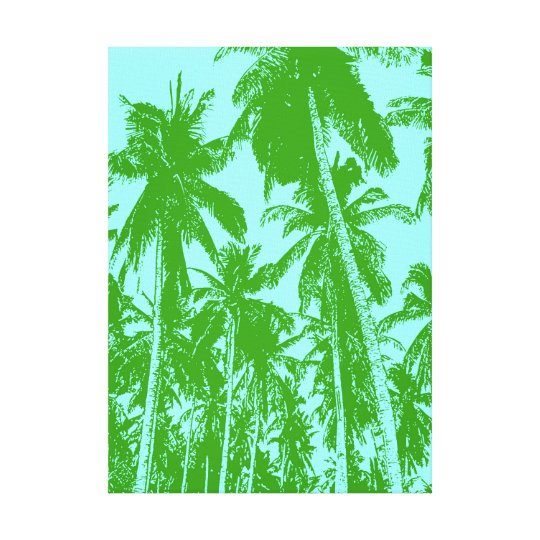 Palm Trees in Green and Blue Canvas Print
