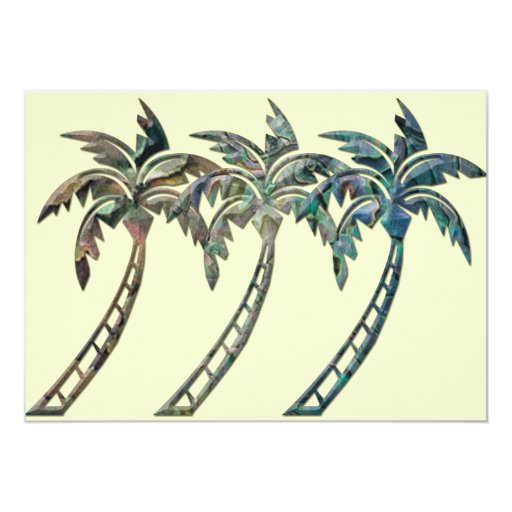 Palm Trees in Paua Shell Textures 13 Cm X 18 Cm Invitation Card