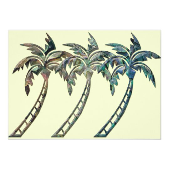 Palm Trees in Paua Shell Textures Card