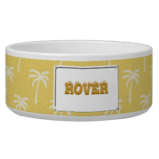 Palm trees in the desert pet food bowls