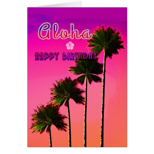 Palm Trees in the Sunset Birthday Card No.2