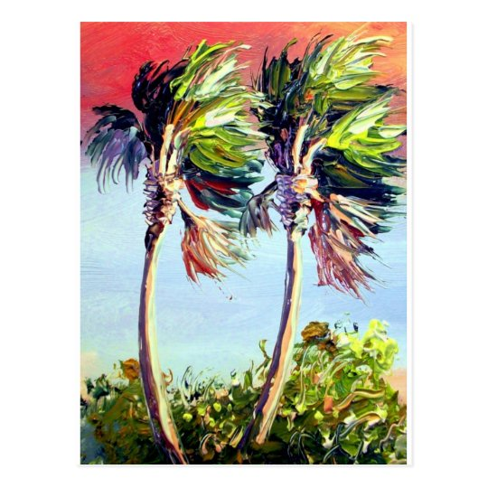 Palm Trees in the Wind Postcard