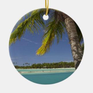 Palm trees & lagoon, Musket Cove Island Resort Round Ceramic Decoration