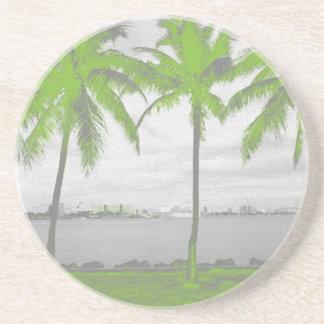 Palm Trees Miami, Florida Green Sandstone Coaster