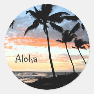 Palm Trees Ocean Classic Round Sticker