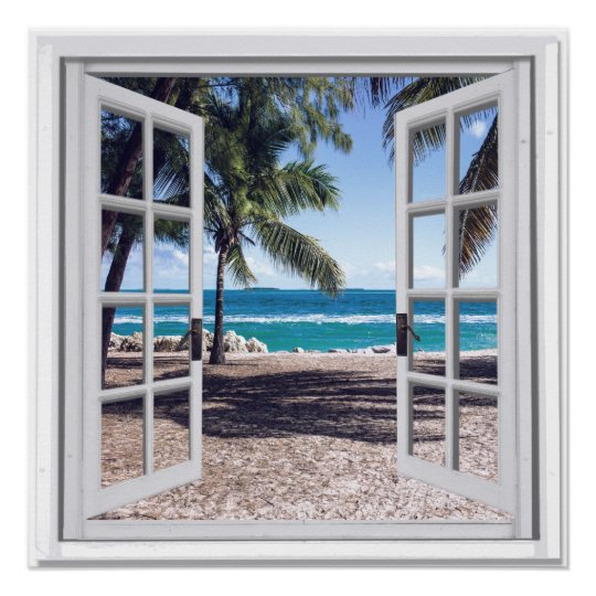 Palm Trees Ocean View Fake Window Poster