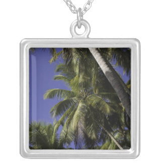 Palm trees on a Caribbean tropical island Square Pendant Necklace