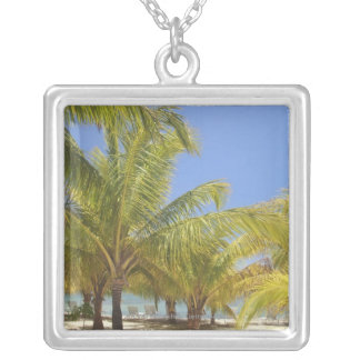 Palm Trees on a Honduras White Sand Beach Silver Plated Necklace