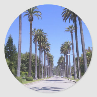 Palm trees on a street in Los Angeles Classic Round Sticker