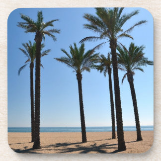 Palm Trees on and Empty Beach Beverage Coasters