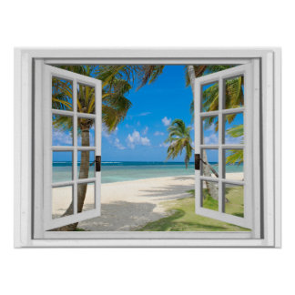 Palm Trees On Beach Ocean View Fake Window Poster