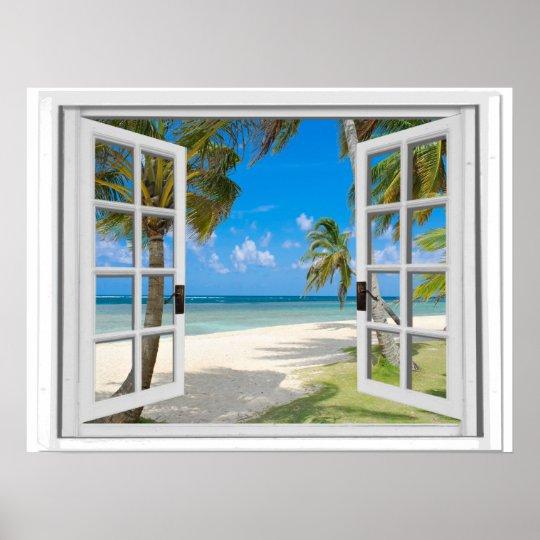 Palm Trees On Beach Ocean View Fake Window